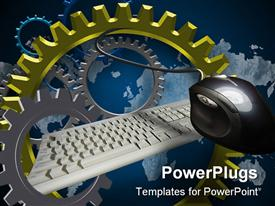 PowerPoint template displaying lots of colorful gears with a white key board and a mouse