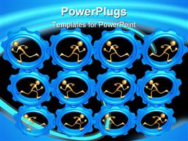 PowerPoint template displaying lots of blue gears with human figures in them
