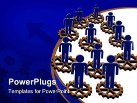 PowerPoint template displaying blue figures stand on disconnected brown gears