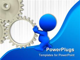 PowerPoint template displaying 3D man spinning a gear on blue and white background