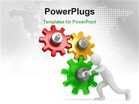 PowerPoint template displaying human character running the cog gear wheels with map in the background