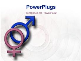 PowerPoint template displaying male and female symbols on a faded patterned background