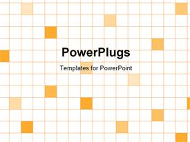 PowerPoint template displaying squared background with orange filled boxes on white background