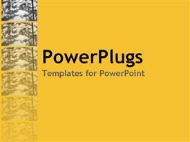 PowerPoint template displaying blurred trees in fading sequence on yellow