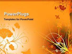 PowerPoint template displaying depiction floral art work