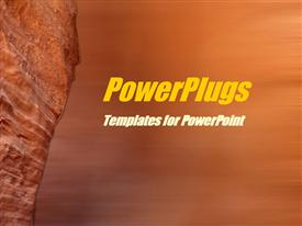 PowerPoint template displaying orange rock in perspective view on rock blur