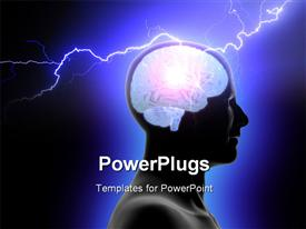 PowerPoint template displaying a person with his brain being given electric jolt