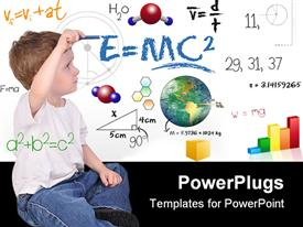 PowerPoint template displaying young boy child is writing out math and science equations and formulas. He is sitting on the floor