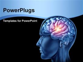 PowerPoint template displaying a human brain with a spark and blackish background