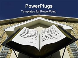 PowerPoint template displaying huge open 3D Bible in front of brown church