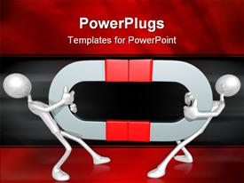 PowerPoint template displaying two figures holding magnets and trying to get away from each other