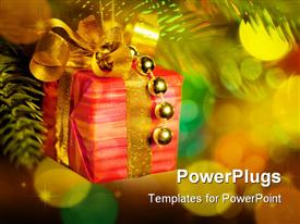 PowerPoint template displaying christmas fir tree with colorful lights and decorations