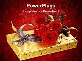 PowerPoint template displaying gift box of sweets and bouquet of red roses