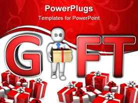 PowerPoint template displaying man give a gift box between big characters