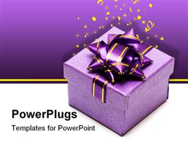 PowerPoint template displaying violet gift box