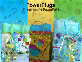 PowerPoint template displaying gift bags on blue