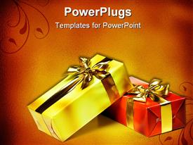 PowerPoint template displaying gift box and golden ribbon