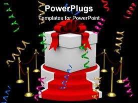 PowerPoint template displaying white gift box on podium. Isolated 3D depiction