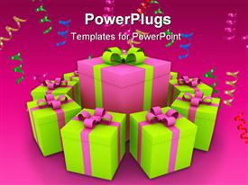PowerPoint template displaying christmas gift box green pink
