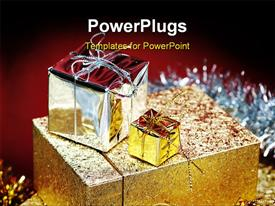 PowerPoint template displaying golden gift boxes decorated with tinsel. Close up. Narrow depth of field