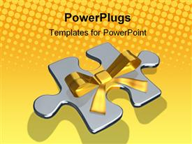 PowerPoint template displaying metaphor with rendered metallic puzzles