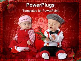 PowerPoint template displaying babies dressed up for Valentine's Day. The boy holds long stemmed roses while the girl looks on