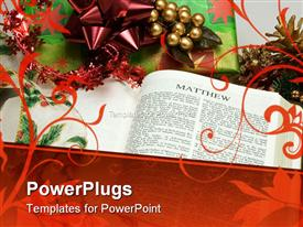 PowerPoint template displaying bible with a Christmas present, some ribbon and decorations surrounding it