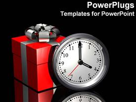 PowerPoint template displaying present next to clock, it is the gift of time