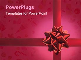 PowerPoint template displaying red gift ribbon and bow