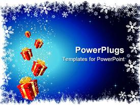 PowerPoint template displaying a number of gift hampers with bluish background