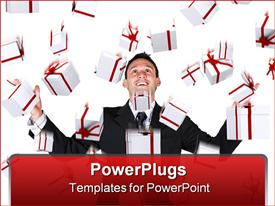 PowerPoint template displaying gifts falling down on a business man over a white background