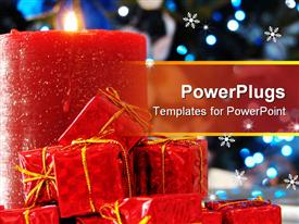 PowerPoint template displaying hot of a red candle with some miniature red gifts Xmas tree with blue lights