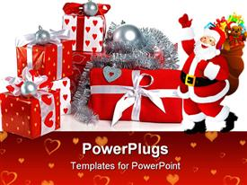 PowerPoint template displaying stack of red gift boxes decorated with bow