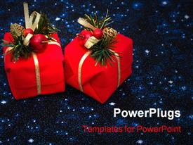 PowerPoint template displaying two red presents on night sky background Christmas background