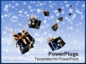 PowerPoint template displaying gifts from the Heaven against winter scene