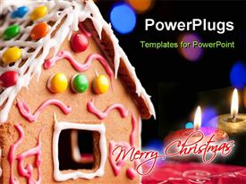 PowerPoint template displaying merry Christmas gingerbread house and burning candles