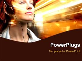 PowerPoint template displaying girl listening to music with earphones on a light background