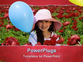 Young girl with a hat and blue balloon in a red flowers field powerpoint template