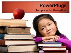 Young girl with textbooks powerpoint template