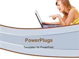 Cute student with Laptop powerpoint design layout