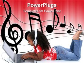 PowerPoint template displaying afro haired little girl sitting on the floor with open laptop and headphones and music notes on sheet on white and red background