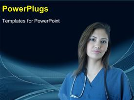 PowerPoint template displaying young Hispanic nurse in the background.