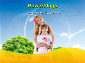 PowerPoint template displaying collage with children and parents on green grass and under blue sky