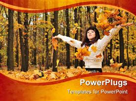 PowerPoint template displaying woman wearing windbreaker with arms up in forest during autumn