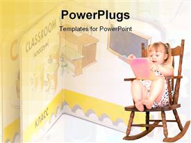 PowerPoint template displaying little girl reading in rocking chair