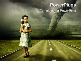 PowerPoint template displaying vintage depiction of a young girl in dress holding her tiger stuffed animal in front of tornado over the road