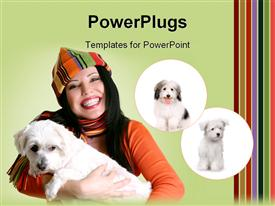 PowerPoint template displaying smiling woman holding a small dog in her arms in the background.