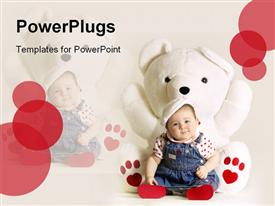 PowerPoint template displaying cute baby places heady in white mascot on white background