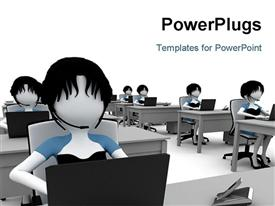 PowerPoint template displaying a number of people sitting in a classroom