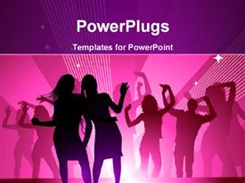 PowerPoint template displaying girls out dancing in a nightclub having fun